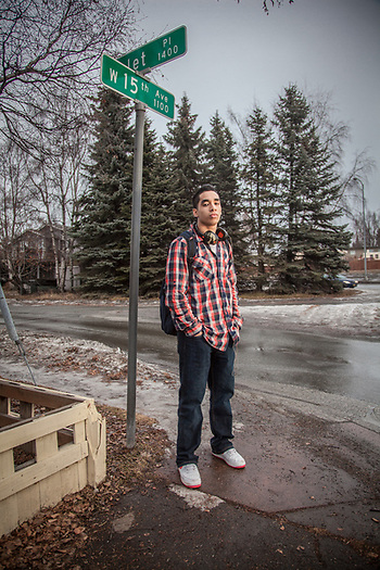 West High student Eniko Sape after school and on his way home, Anchorage. (© Clark James Mishler)