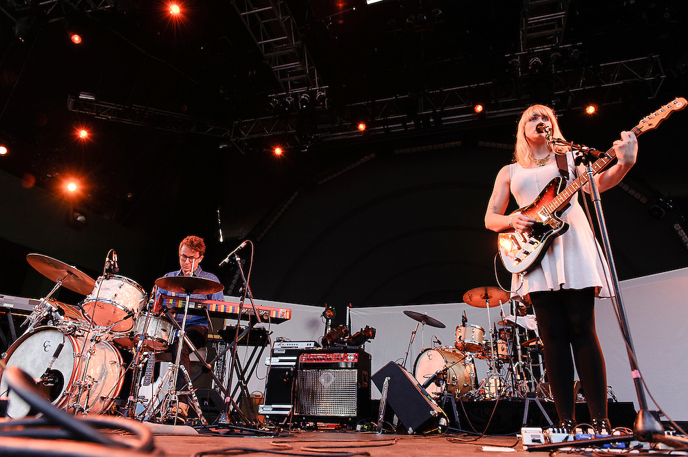 Photos of the band Wye Oak performing for Celebrate Brooklyn! at Prospect Park Bandshell in Brooklyn, NYC. July 10, 2012. Copyright © 2012 Matthew Eisman. All Rights Reserved. (Photo by Matthew Eisman/Getty Images)
