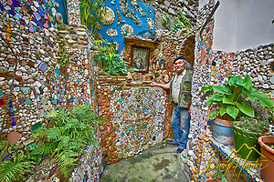 Alphonso, and Italian artist in his Atrani Italy garden