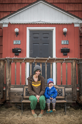 Keegan Richards and her son, Gustav in Anchorage's South Addition neighborhood (© Clark James Mishler)