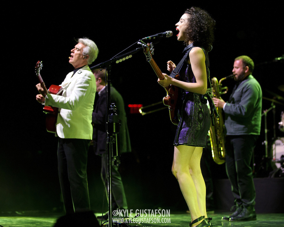 BETHESDA, MD - September 30th, 2012 - David Byrne (far left) and St. Vincent (middle) perform at the Strathmore Music Hall as part of their joint tour. The pair released a collaborative album, Love This Giant, earlier this month. (Photo by Kyle Gustafson/For The Washington Post) (Kyle Gustafson/For The Washington Post)