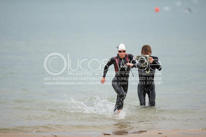 Mary Beth Ellis (USA), March 23, 2014 - Ironman Triathlon : Swim Course. Ironman Melbourne Race Race, Frankston Swim Course/Transition, Melbourne, Victoria, Australia. Credit: Lucas Wroe (Lucas Wroe)