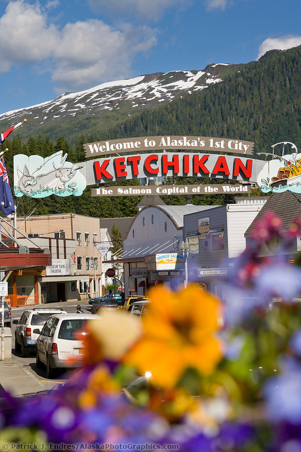 Ketchikan Alaska photos: Welcome to Ketchikan sign, downtown, Ketchikan, Alaska. (Patrick J. Endres / AlaskaPhotoGraphics.com)