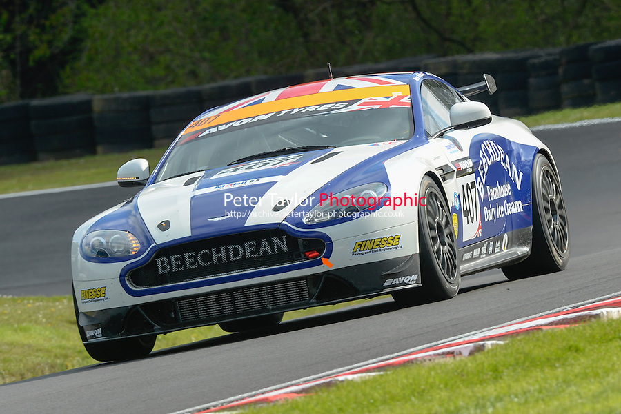 #407 Ross Wylie/Jake Giddings - Beechdean AMR, Aston Martin Vantage GT4 during first practice for the Avon Tyers British GT Championship at Oulton Park, Little Budworth, Cheshire, United Kingdom. April 19 2014. World Copyright Peter Taylor/PSP. Copy of publication required for printed pictures. Every used picture is fee-liable. http://archive.petertaylor-photographic.co.uk (Peter Taylor/PSP)