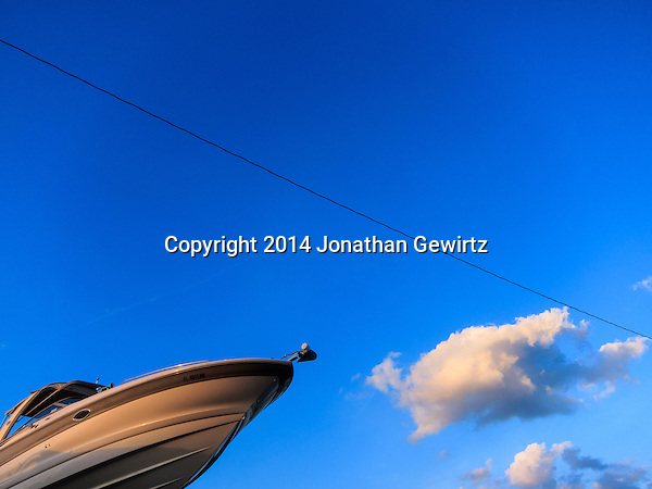 Abstract view of a boat against a blue sky  background. (2014 Jonathan Gewirtz)