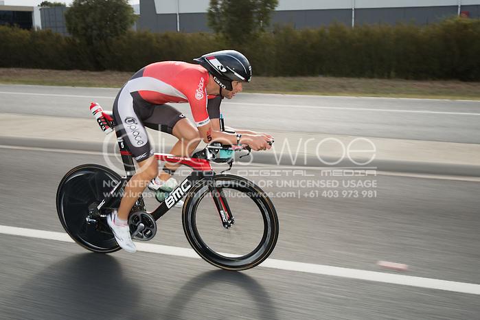 Dirk Bockel (LUX), March 23, 2014 - Ironman Triathlon : Bike Course. Ironman Melbourne Race, Bike Cycle Course Between Frankston And Ringwood Tunnel, Melbourne, Victoria, Australia. Credit: Lucas Wroe (Lucas Wroe)