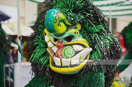 BASEL, SWITZERLAND - MARCH 02, 2009: Unidentified person wears Waggis mask at Basel Carnival in Basel, Switzerland. (Dmitry Chulov)