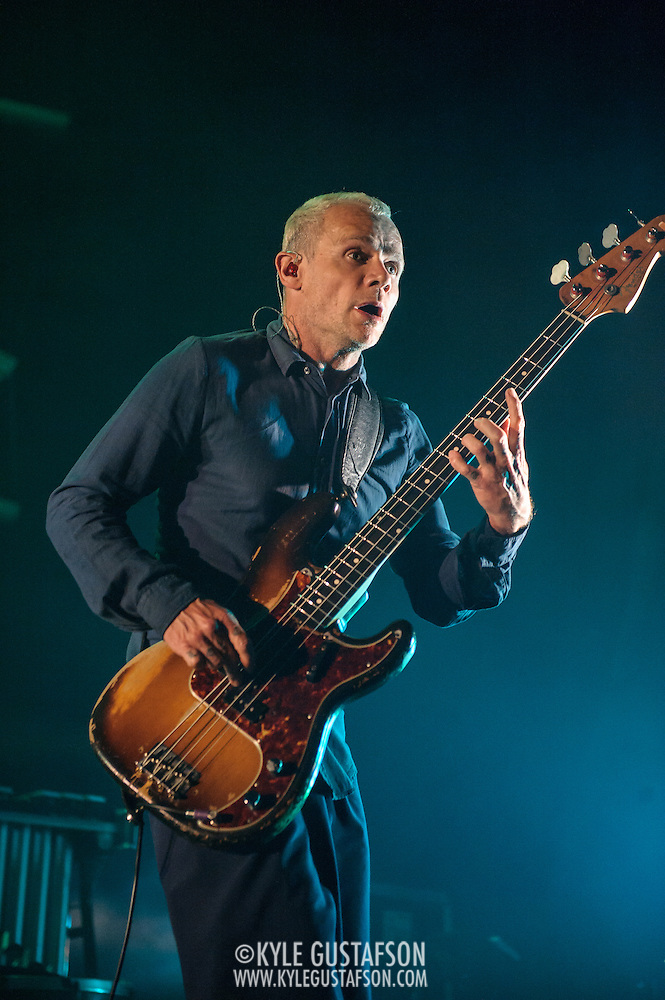 FAIRFAX, VA - September 30th, 2013 - Flea of Atoms For Peace performs at the Patriot Center in Fairfax, VA. The band, which consists of Radiohead's Thom Yorke, Flea, Radiohead producer Nigel Godrich and R.E.M. touring drummer Joey Waronker, performed songs from the group's debut album, Amok, as well as songs from Yorke's solo debut and Radiohead b-sides. (Photo by Kyle Gustafson / For The Washington Post) (Kyle Gustafson/For The Washington Post)