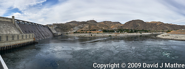 Grand Coulee Dam Panorama. Composite of seven images taken with a Nikon D700 camera and 35 mm f/1.4 mm lens (ISO 200, 18 mm, f/11, 1/1000 sec). Raw images processed with Capture One Pro and the panorama created using AutoPano Pro. (David J Mathre)