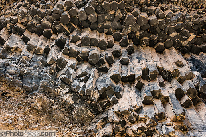 Hexagonal basalt columns. Hike Whitmore Trail (about 3 miles round trip with 920 feet gain) from Colorado River Mile 187.9. Day 14 of 16 days rafting 226 miles down the Colorado River in Grand Canyon National Park, Arizona, USA. (© Tom Dempsey / PhotoSeek.com)