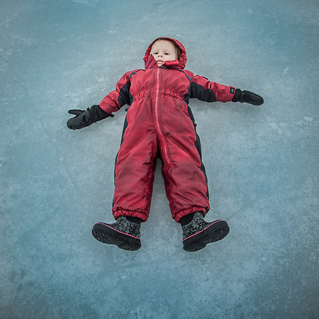 Two year old Sully Grubbs rests on the ice at Westchester Lagoon, Anchorage  thelucinator@gmail.com (Clark James Mishler)