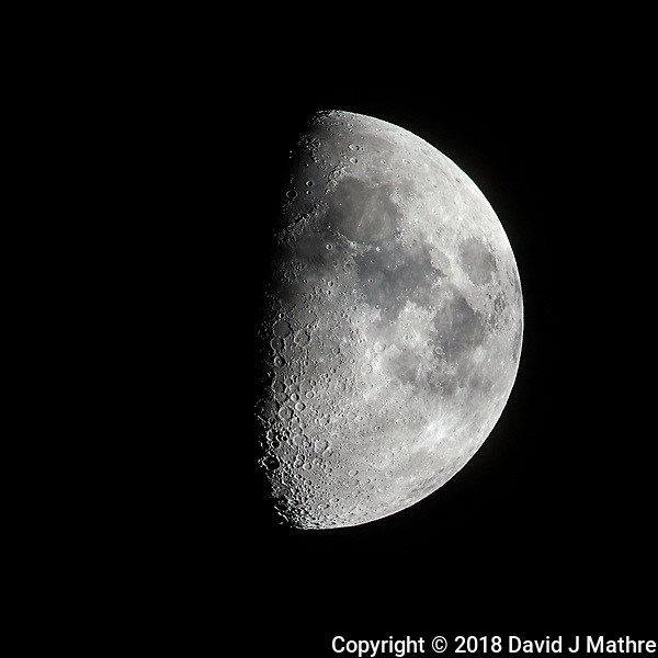 Waxing Gibbous Moon. Image taken with a Nikon D850 camera and 500 mm f/4 VRII telephoto lens (ISO 64, 500 mm, f/11, 1/125 sec). (DAVID J MATHRE)