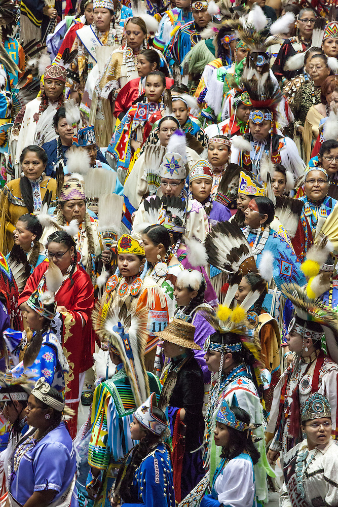 Over 3,000 indigenous / Native American / Indian dancers and Singers representing more than 500 tribes from Canada and the United States come to Gathering of Nations PowWow annually to participate socially and competitively in Albuquerque New Mexico. (Steven St. John)