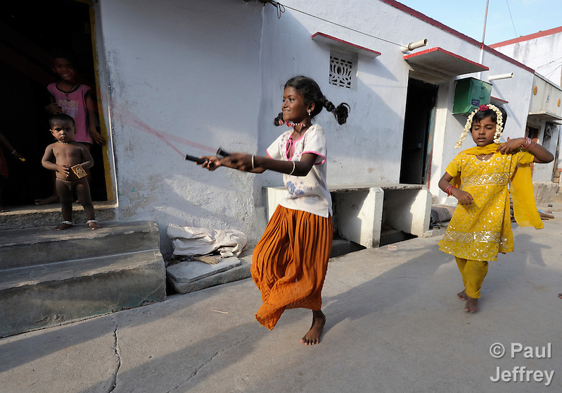 A girl skips rope on a street in Sathangudi, a village in the southern Indian state of Tamil Nadu. (Paul Jeffrey/Response)