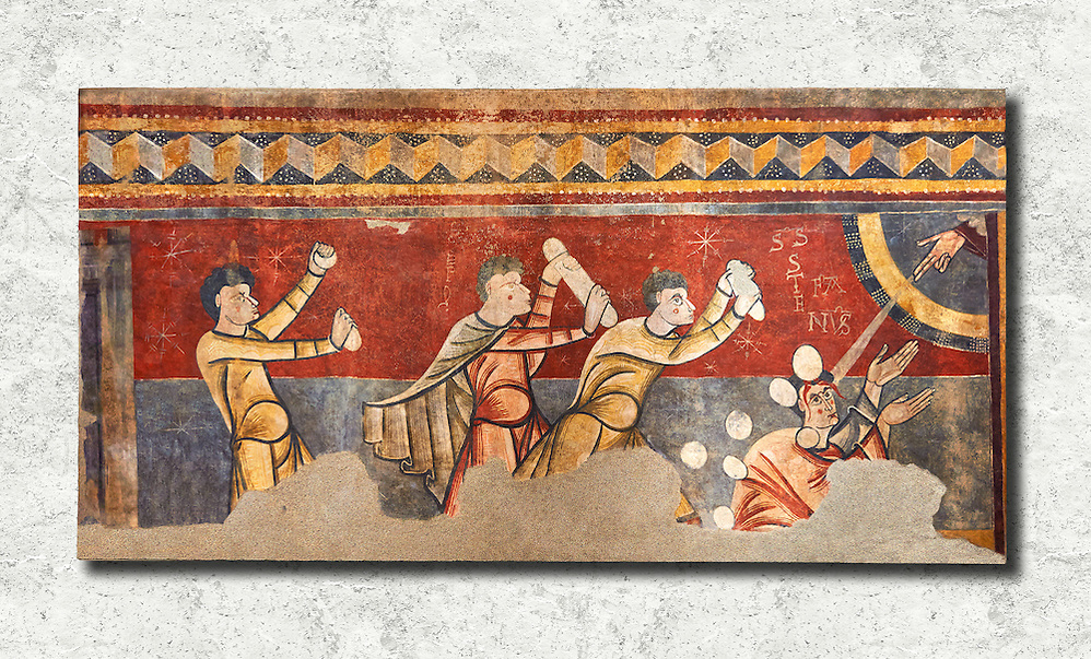 The Stoning of St. Stephen Circa 1100s Fresco Transfer to canvas From the Church of Saint Joan Boi, Val de Boi, High Ribagorca, Pyranese, Spain. Acquired in 1919-1923 by the National Art Museum of Catalonia, Barcelona. MNAC 15953 The 12th century fresco of the Stoning of St. Stephen is one of the best scenes in the mural decoration Boi. The interest in narrative and dynamism are characteristic of a pictorial style of the Poitiers region of France, which is also linked with the rich Limousin painting of the late eleventh century. From the iconographic point of view, the scene is an early example of the interest of Romanesque art to the lives of saints. St Joan de Boi is a UNESCO World Hertiage Site. (Paul Williams)