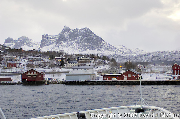 Ørnes Norway. Image taken from the M/V Kong Harald on Day 3 of the Northbound Hurtigruten Voyage. Image taken with a Nikon D2xs and 28-70 mm f/2.8 lens (ISO 400, 28 mm, f/2.8, 1/125 sec).. (David J. Mathre)