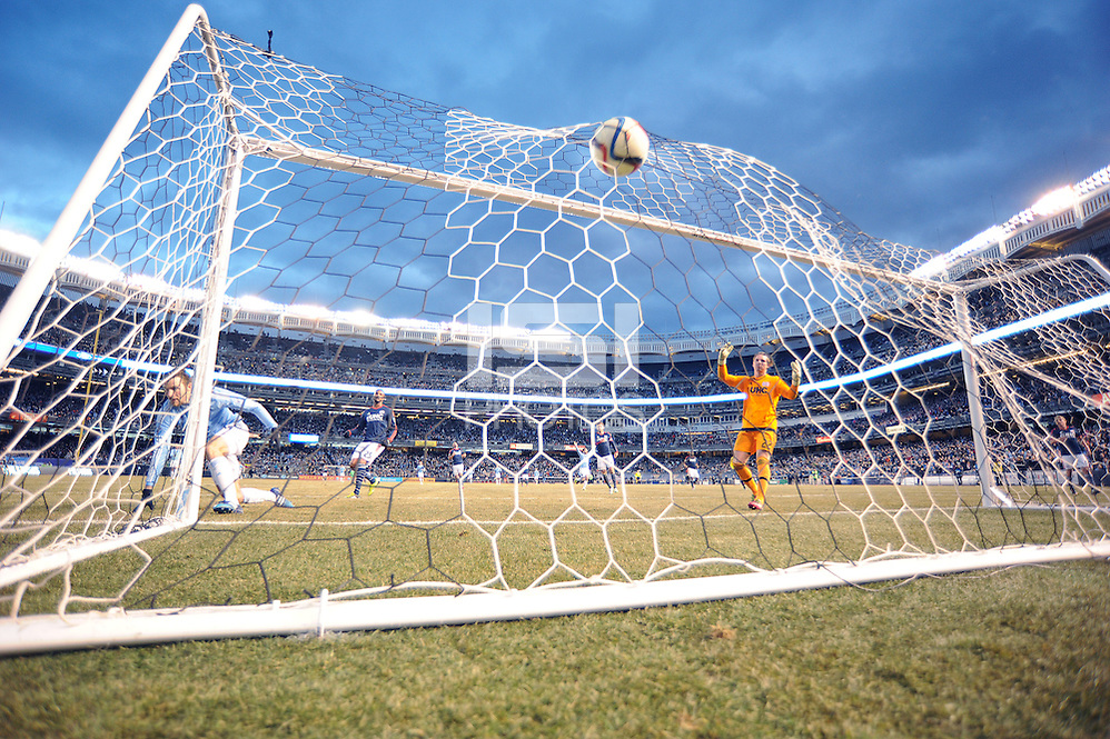 BRONX, NY - Sunday March 15, 2015: Patrick Mullins scores NYCFC's second goal.  Expansion team New York City FC defeats the New England Revolution 2-0 in their first ever home game at Yankee Stadium during the MLS regular season. (Mike Lawrence/isiphotos.com)