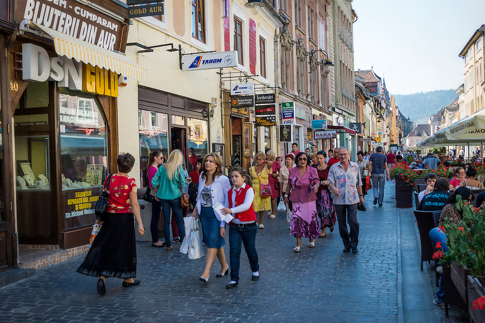 BRASOV, ROMANIA - October 2, 2012: View of the Strada Replubicii in Bra?ov, Romania, with 227,961 people living there is the 8th most populous city in Romania and a popular tourist destination. (Daniel Korzeniewski)