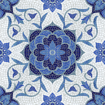 Aurelia, a jewel glass mosaic, is shown in Lapis Lazuli, Iolite, Mica, Absolute White, and Blue Spinel. (Picasa)