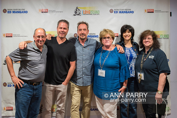"Bellmore, New York, USA. 19th July 2017. L-R, HENRY STAMPFEL, BRAD KUHLMAN, LOU DiMAGGIO, TRISH APPELLO, woman, and ANNE STAMPFEL pose during final Screening Night of Long Island International Film Expo 2017 at Bellmore Movies. The last film screened was the feature documentary ""Where Have You Gone, Lou DiMaggio?"" by Director Brad Kuhlman about comedian Lou DiMaggio contemplating a comeback after 20 year away from stand-up comedy. Henry and Anne Stampfel are the owners the Bellmore Movies, and two of the co-founders of LIIFE. Henry Stampfel is President Chairman Treasure and Trish Appello is Secretary of the Long Island Film/TV Foundation which, along with Nassau County Film Commission presented LIIFE 2017. (Ann Parry/Ann Parry, ann-parry.com)"