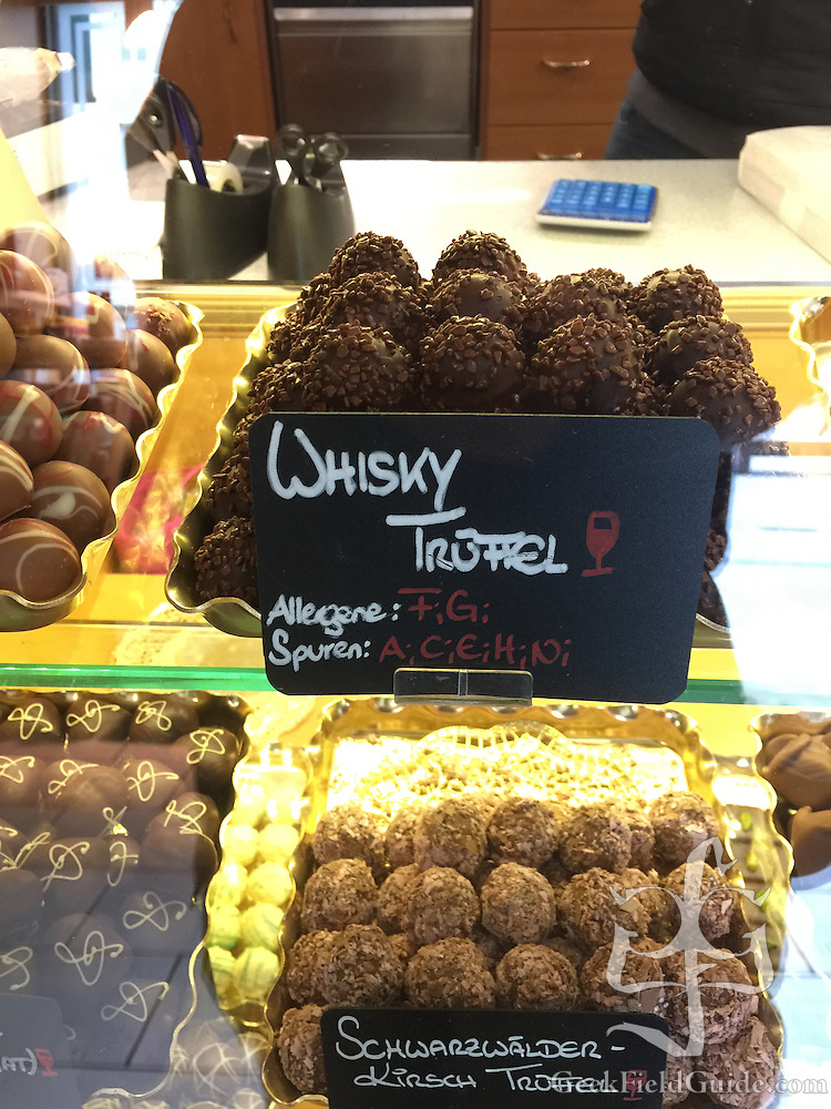Whisky and Black Forest brandy truffels in a shop in Innsbruck, Austria (Warren Schultz)