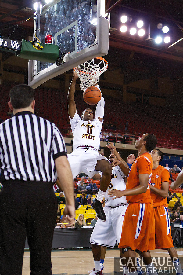 November 25th, 2010:  Anchorage, Alaska - Arizona State forward, Carrick Felix (0) dunks in the Sun Devils 73-55 win over Houston Baptist in their first round game of the Great Alaska Shootout. (Carl Auer)