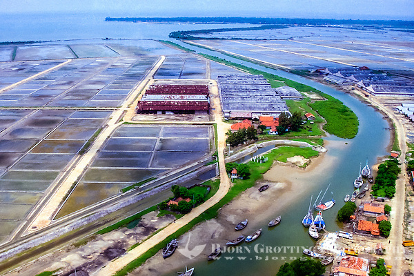 Java, East Java, Madura. Madura is a major producer and exporter of salt. Salt factories at the south coast (from helicopter). (Photo Bjorn Grotting)