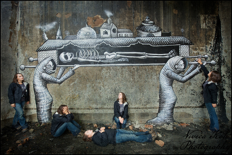Multiplicity self portrait with artwork by Phlegm, Sheffield (Viveca Koh)