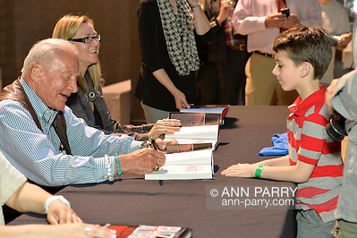 "May 11, 2013 - Garden City, New York U.S. - Astronaut BUZZ ALDRIN signs ""Mission to Mars"" for KEATON COOKE, 6, of North Merrick at book signing at the Cradle of Aviation Museum. The NASA astronaut engineer of Apollo 11 in 1969, was the second person to walk on the Moon. (Ann Parry/Ann Parry, ann-parry.com)"