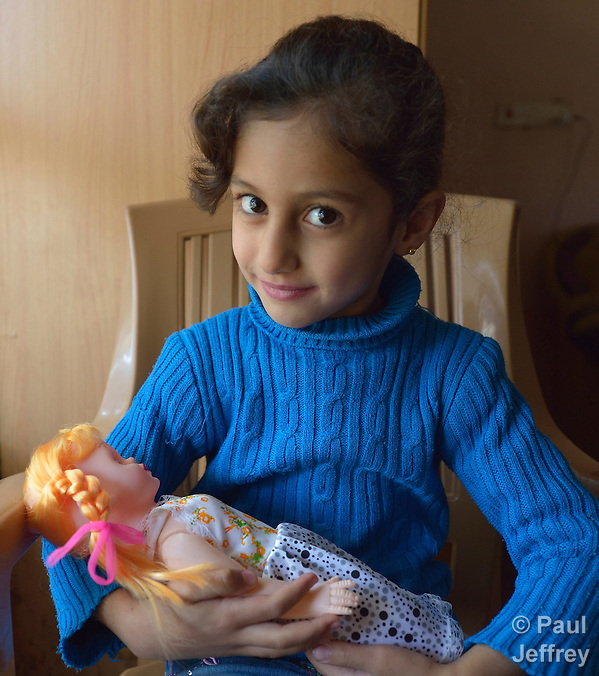 Rahaf Saeed, 6, a Yazidi girl displaced in 2014 by the Islamic State group, today lives with her family in the village of Kora, outside Duhok in the northern Iraqi region of Kurdistan. (Paul Jeffrey)
