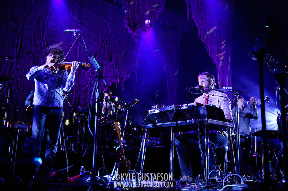 COLUMBIA, MD - September 15th, 2012 - Rob Moose, Justin Vernon and C.J. Camerieri of Bon Iver perform at Merriweather Post Pavilion in Columbia, MD. The group graduated from large clubs to amphitheatres on the success of their second, self-titled album. (Photo by Kyle Gustafson/For The Washington Post) (Kyle Gustafson/For The Washington Post)