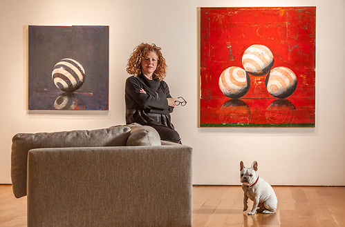 Senior Consultant Lisa Archambeau with her French Bull Dog, Hugo, at the Caldwell Snyder Gallery in Saint Helena, CA (© Clark James Mishler)
