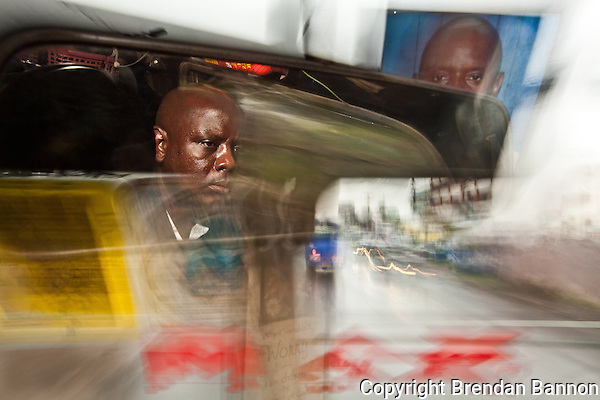 Emmanuel Sinzole Matatu driver on route 46 in Nairobi. (Brendan Bannon)