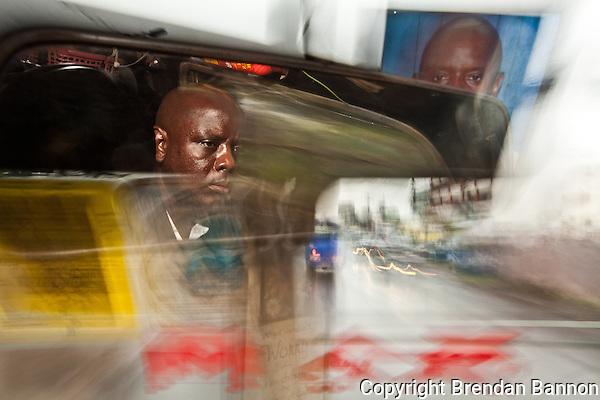 Emmanuel Sinzole Matatu driver on route 46 in Nairobi. (Brendan Bannon)