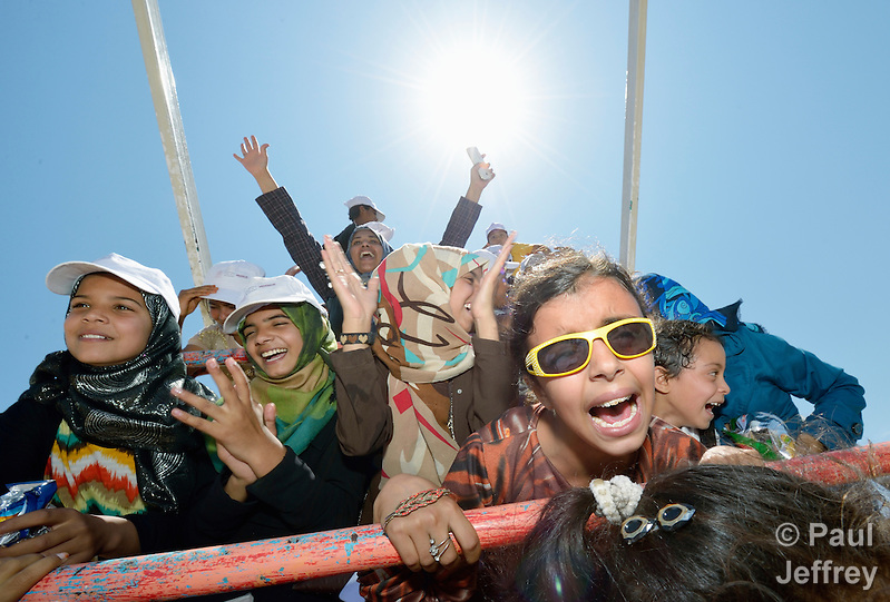 Children traumatized by war enjoy a trip to an amusement park in Gaza City. The outing was sponsored by the Al Ahli Arab Hospital, a member of the ACT Alliance, and financed by the Pontifical Mission for Palestine and Misereor. (Paul Jeffrey)