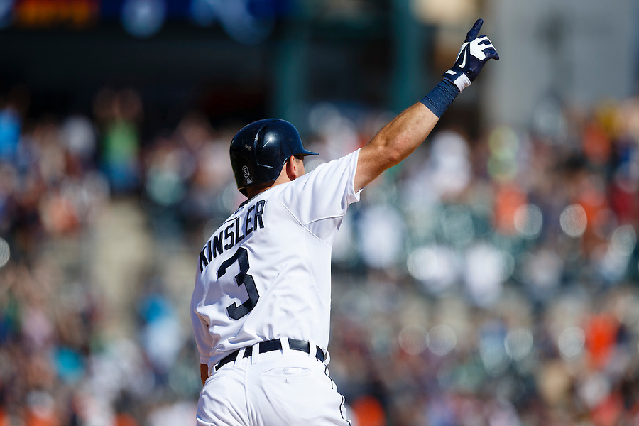 Aug 6, 2015; Detroit, MI, USA; Detroit Tigers second baseman Ian Kinsler (3) celebrates after he hits a walk off two run home run in the ninth inning against the Kansas City Royals at Comerica Park. Detroit won 8-6. Mandatory Credit: Rick Osentoski-USA TODAY Sports (Rick Osentoski/Rick Osentoski-USA TODAY Sports)