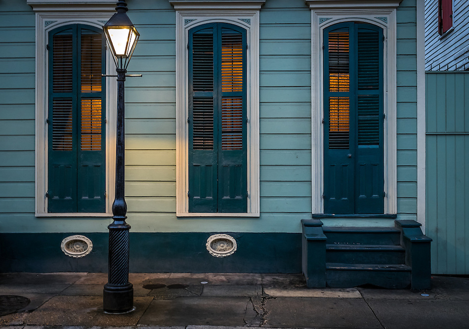 NEW ORLEANS - CIRCA FEBRUARY 2014: View of a typical facade in the New Orleans French Quarter in Louisiana, at night. (Daniel Korzeniewski)