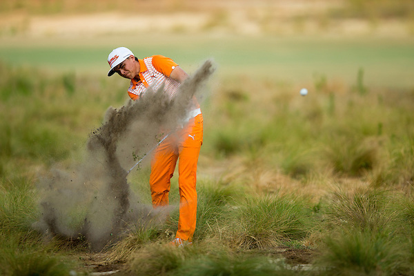 Rickie Fowler hits his second shot on the 11th hole during the final round of the 2014 U.S. Open at Pinehurst Resort & C.C. in Village of Pinehurst, N.C. on Sunday, June 15, 2014.  (Copyright USGA/Darren Carroll) (Darren Carroll/USGA Museum)