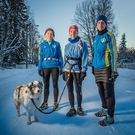 Long distance runners Tissy Parker, Mary Ann Renkert and Sarah Kleedehn on H Street in Anchorage's South Addition neighborhood  kleedehn@alaska.com (Clark James Mishler)