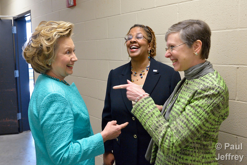 Hillary Rodham Clinton (left) speaks backstage with Yvette Richards and Harriett Olson before addressing participants at the United Methodist Women's Assembly during an April 26, 2014 worship service at the Kentucky International Convention Center in Louisville, Kentucky. Richards is president of United Methodist Women, and Olson is top executive of the organization. Clinton is a lifelong member of United Methodist Women. (Paul Jeffrey)