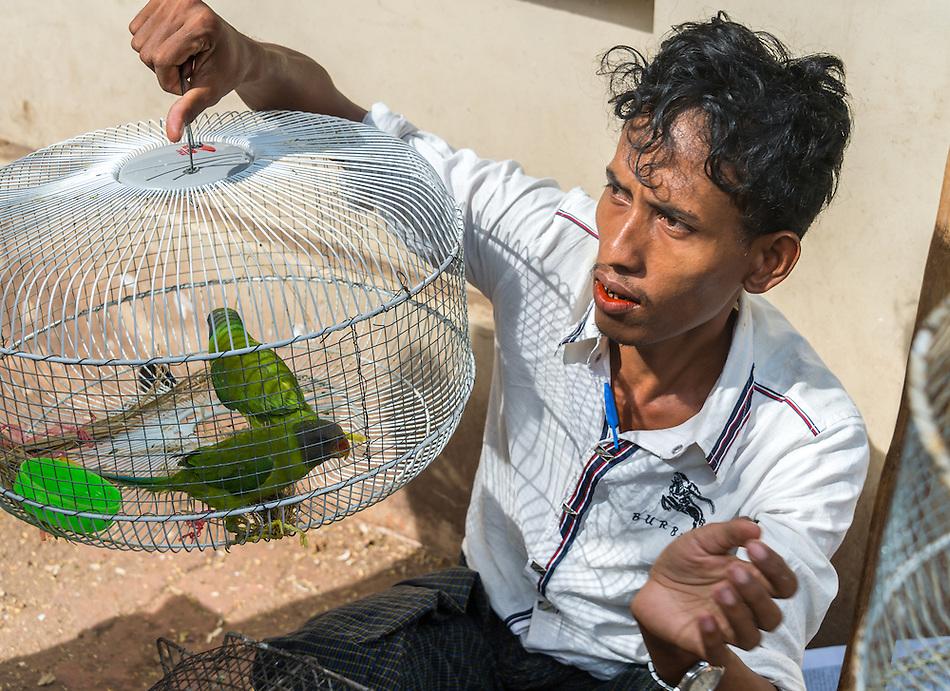 YANGON, MYANMAR - CIRCA DECEMBER 2013: Portrait street vendor with parakeets in Yangon. (Daniel Korzeniewski)