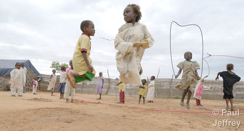 Children at play in a camp near Bilel, where families displaced by the conflict in the Darfur region of Sudan have taken refuge from the violence. (Paul Jeffrey)