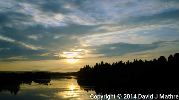 Sun Going Down Over Rural Finland from the Overnight Rovaniemi to Helsinki Train. Image taken with a Fuji XT1 camera and 23 mm f/1.4 lens (ISO 1600, 23 mm, f/16, 1/500 sec). Raw image processed with Capture One Pro and Photoshop CC. (David J Mathre)