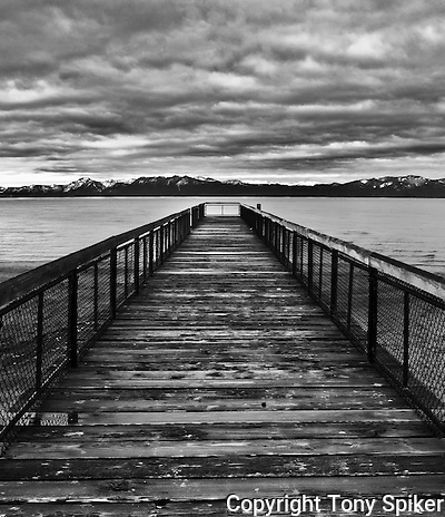 &quot;Kings Beach Pier 1&quot; - A black and white photograph of the Pier in Kings Beach, on the North Shore of lake Tahoe (Tony Spiker)