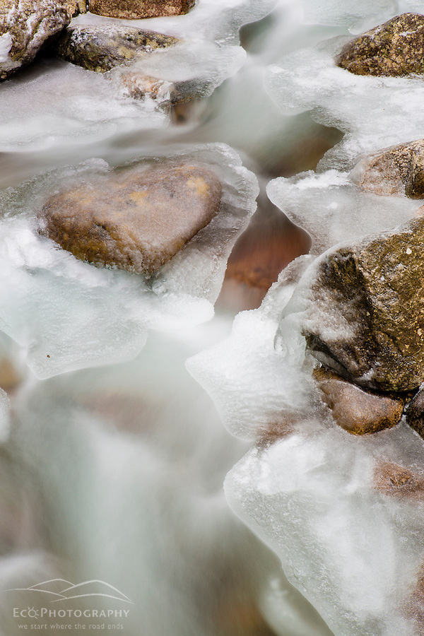 Rocks and ice in the Flume Gorge in New Hampshire's Franconia Notch State Park. White Mountains. (Jerry and Marcy Monkman)
