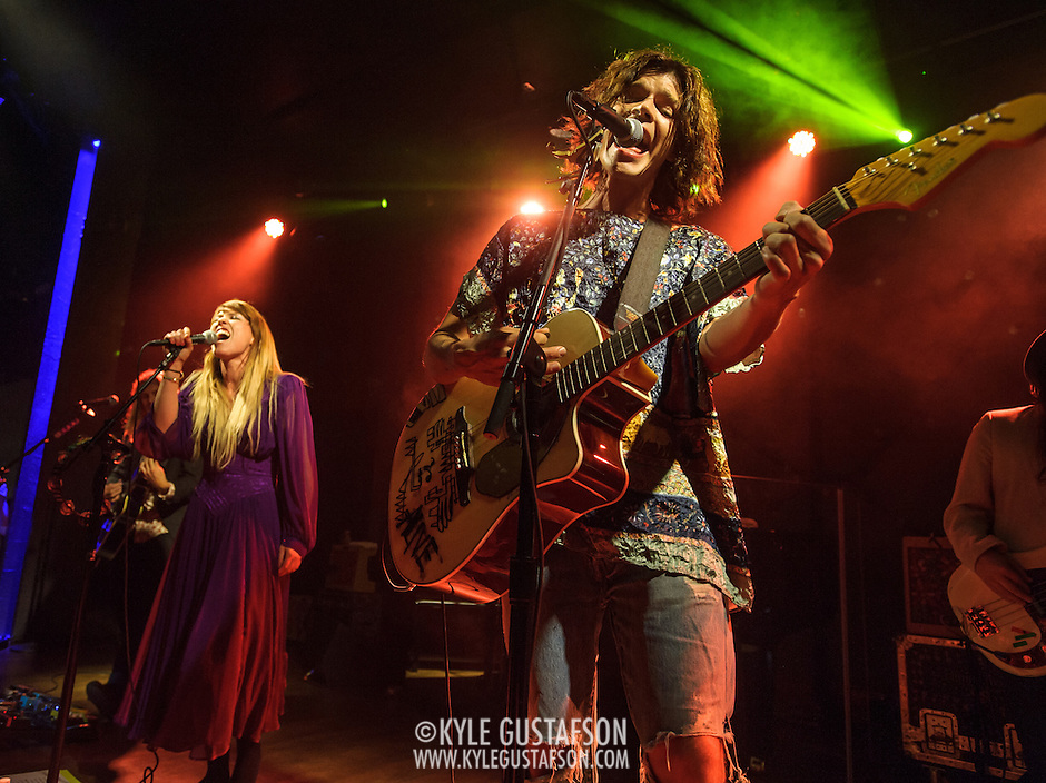 "WASHINGTON, DC - October 10th, 2013 - Andrew Wesson, Hannah Hooper and Christian Zucconi of Grouplove perform at The Hamilton in Washington, D.C. The band's 2011 hit ""Tongue Tied"" sold over 1 million copies, was featured in an iPod Touch commercial and was covered on the TV show Glee. (Photo by Kyle Gustafson / For The Washington Post) (Kyle Gustafson/For The Washington Post)"