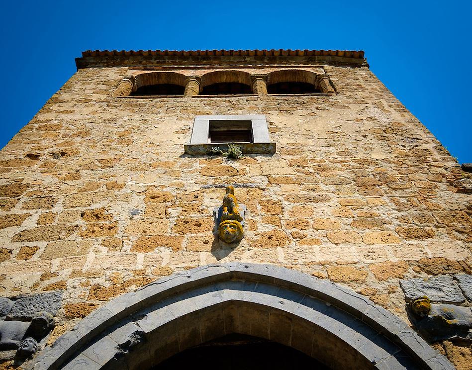 CIVITA DI BAGNOREGIO ITALY - CIRCA MAY 2015: View of tower over the main gate in Civita di Bagnoregio. (Daniel Korzeniewski)