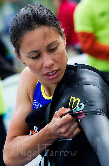 22 MAY 2011 - DUNKERQUE, FRA - Andrea Hewitt (Poissy Triathlon) prepares for the start of the women&#039;s round of the 2011 French Grand Prix triathlon series (PHOTO (C) NIGEL FARROW) (NIGEL FARROW/(C) 2011 NIGEL FARROW)