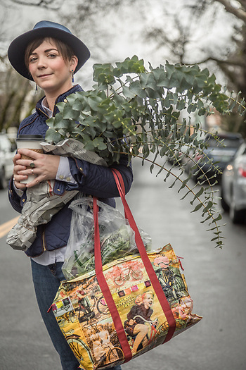 "Viticulturist and Calistoga resident Arielle Gardner makes a fashion statement while leaving the Calistoga Saturday Market with her purchases. ""Someday I'd like to own a farm...over seas...maybe a vineyard."" (© 2017 Clark James Mishler)"