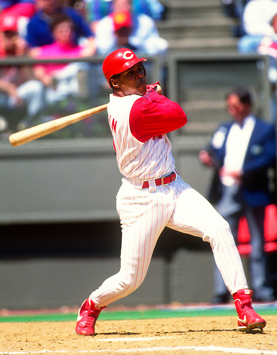 CINCINNATI:  Barry Larkin of the Cincinnati Reds bats during an MLB game at Riverfront Stadium in Cincinnati, Ohio.  Larkin played for the Reds from 1986-2004.   (Photo by Ron Vesely)   Subject: Barry Larkin. (Ron Vesely)